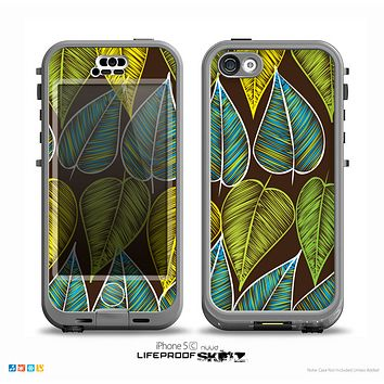 The Gold & Yellow Seamless Leaves Illustration Skin for the iPhone 5c nüüd LifeProof Case
