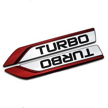 Dsycar 1 pair 3D Metal TURBO Car Sticker Emblem Badge for Universal Cars Motorcycle Decorative Accessories