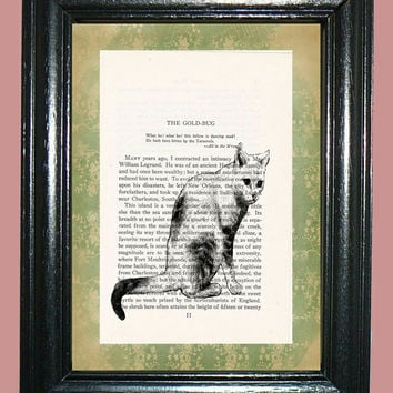 Posing Cat - Novel Book Page Art - Edgar Allan Poe Stories Upcycled Page Art Home Decor Collage Art Print