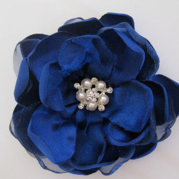 Royal Cobalt Navy Blue Fabric Wedding Flower Hair Clip  Bride Bridesmaid Mother of the Bride Proms with Pearl and Rhinestone Accent
