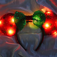 Light-Up Christmas Mouse Ears Headband (batteries included)