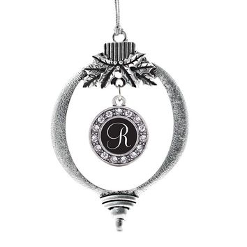 My Script Initials - Letter R Circle Charm Holiday Ornament
