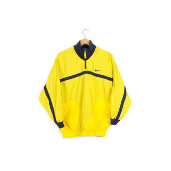 90s NIKE reversible windbreaker jacket - vintage 1990s - yellow + navy blue - mens small