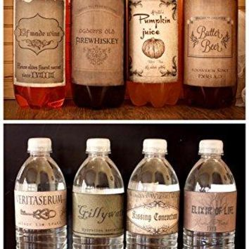 Harry Potter Vintage inspired (4) 2 litter drink & (8) Water bottle Labels Birthday Party Halloween decor decoration BONUS FREE 12 HARRY POTTER APOTHECARY POTION LABELS!