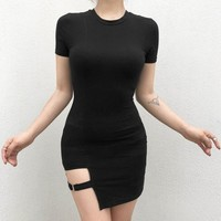 Sexy Gothic Asymmetrical Bodycon Mini Dress