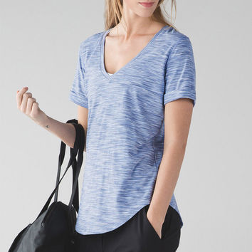 Lululemon Women V-Neck Sport Gym Tunic Shirt Top Blouse
