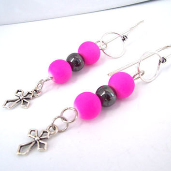 Christian Earrings For Women, Cross Jewelry, Christian Jewelry, Hot Pink Earrings