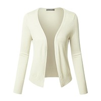 LE3NO Womens Long Sleeve Open Front Soft Ribbed Knit Cardigan