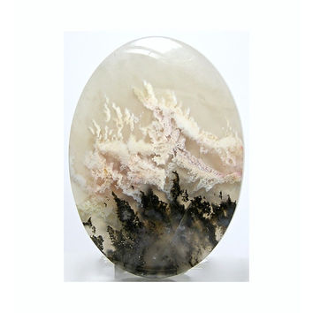 Moss Agate Ivory and Ebony Plume Dendrites Stone Calibrated Flat Back Cabochon 52 x 38 mm Large Oval Premium Quality