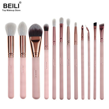 2017 BEILI New Style 12pcs Complete Makeup Brush Set Professional Foundation Blusher Highlighter Eye Shadow Eyeliner Makeup Tool