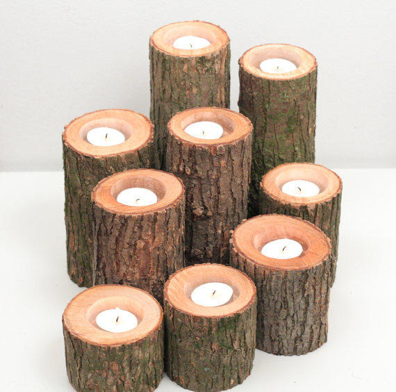 Tree branch candle holders i rustic wood from for Rustic wood candle holders