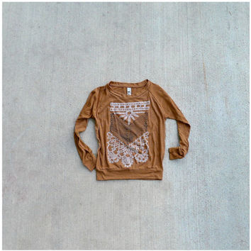 The Nomad - womens pullover - S-XL - tribal arrows and lace chest plate design on rust orange raglans - boho fashion