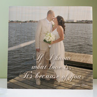 Photo Gift for Anniversary: Wedding Day Photo Gift, Personalized Photo Block, wood block print, 5 year, Quote, Vows, Wedding Song Lyric