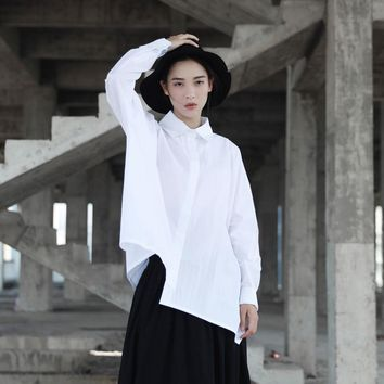 Women Pure Cotton Long Sleeve Loose Oversize Asymmetric Blouses