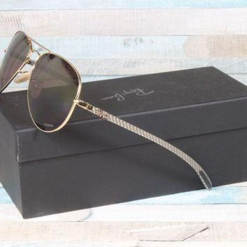 Kalete New Ray Ban RB8317CH 001/6B 58mm Gold Silver Polarized Purple Mirror Sunglasses