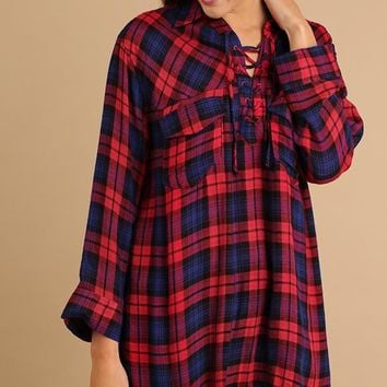 Red Plaid Fringe Lace Up Tunic
