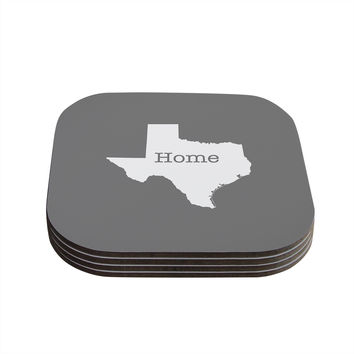 "Bruce Stanfield ""Texas Is Home"" White Gray Coasters (Set of 4)"