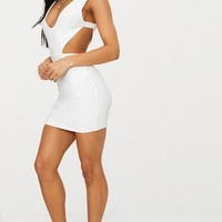 White Double Layer Slinky Cut Out Side Bodycon Dress