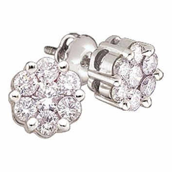 14kt White Gold Women's Round Diamond Flower Cluster Earrings 1-4 Cttw - FREE Shipping (USA/CAN)