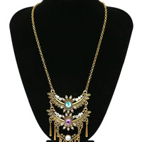 Gold Sun Flower Shape Rhinestone Tassel Chain Necklace