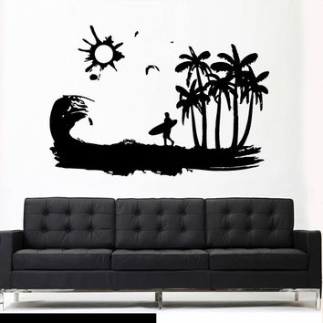 Wall Vinyl Sticker Decals Decor Art Bedroom Design Mural Ocean Water Beach Wind Sun Surf Board Wave Palm (z2981)