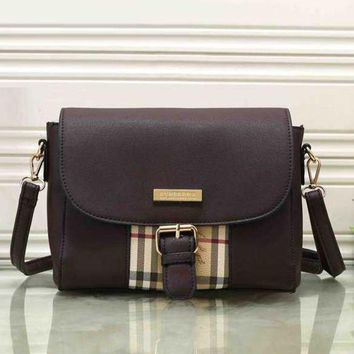 Burberry Trending Women Leather Buckle Shoulder Bag Crossbody Satchel Coffee I