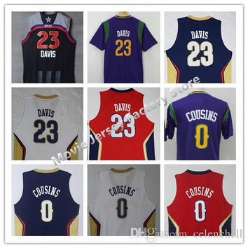 Mens #23 Anthony Davis Jersey #0 DeMarcus Cousins Jersey Red/Navy/White/Purple High Quality Stitched 2017 All Star Davis Basketball Jersey