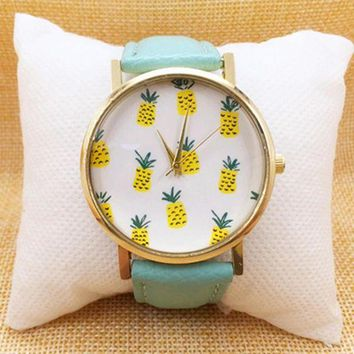 LMFON1O Day First Summer Pineapple Printed Watch