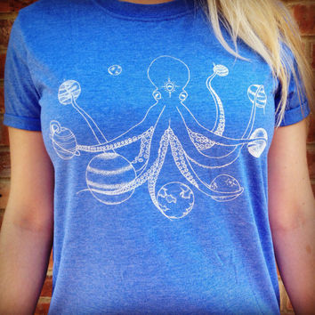 Space Octopus T-Shirt Hand Screen Printed Blue Moon Phase Lunar Planets Space Hand Made Celestial Galaxy