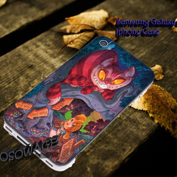 Alice and the cheshire cat 2 Cover iPhone 4 4S iPhone 5 5S 5C and Samsung Galaxy S3 S4 S5 Case