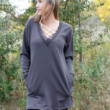 Lace V-Neck Tunic - Charcoal
