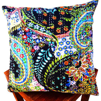 Black paisley print kantha cushion cover , indian cushion, cotton cushion ,handmade cushion ,kantha pillow