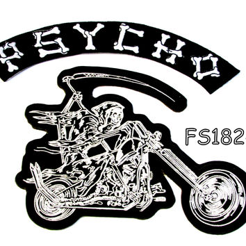 Psycho Grim Reaper writing motorcycle Iron on Patch for Biker Vest FS182-14