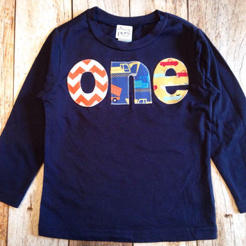 Long Sleeve Navy one Birthday Shirt - construction, pickup trucks chevron- Boys 1st Birthday