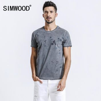 SIMWOOD 2018 Summer New Vintage Floral T Shirt Men Fade look O-neck Tops Fashion High Quality Tees Slim Fit Tshirt 180267