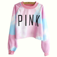 Harajuku style tie-dye gradient color long-sleeved sweater  BACFBJ