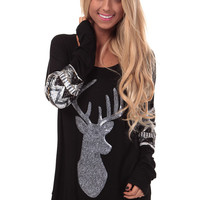 Black Top with Sequin Reindeer and Tribal Detail
