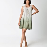 Vintage Style Sage Green Ombre Embroidered Flapper Day Dress