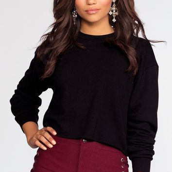 Sporty Spice Crop Sweatshirt - Black