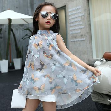 2017 New Girls Dress Summer Fashion Sleeveless Butterfly Printing Chiffon Casual Crew Neck Clothing 8 9 10 11 12 13 14 15 years
