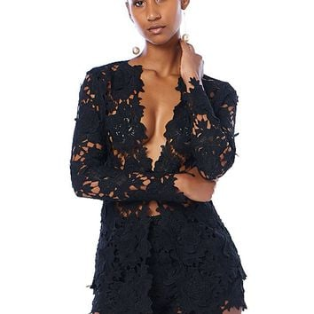 Floral Crochet See Much Through Jacket