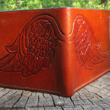 Leather wallet, Wings, Feathers, Angel, Hand Made, Credit card wallet, biker wallet, carved wallet, hand-tooled wallet
