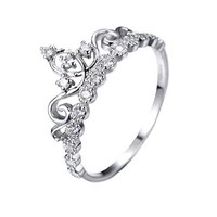 Dainty Rhodium-plated Sterling Silver Crown Ring / Princess Ring (9)