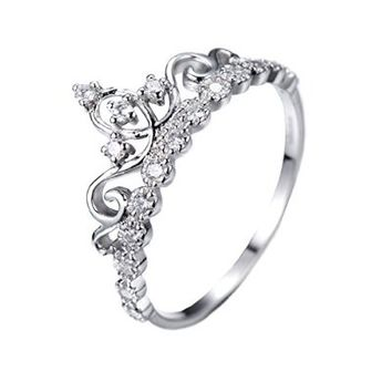 Dainty Rhodium-plated Sterling Silver Princess Crown Ring