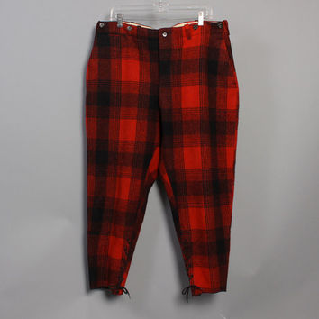 60s MALONE Hunting PANTS / Buffalo Plaid Thick Wool Knickers, 38
