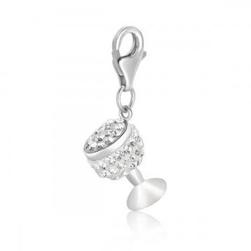 Sterling Silver Wine Glass White Tone Crystal Accented Charm