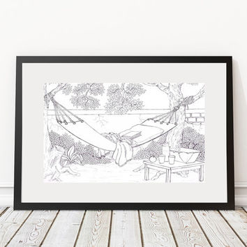 Afternoon Siesta  Artwork to Color Gift Ideas Wall Decor Art Poster Monochrome Line Art Personalized Art College Dorm House Warming Coloring