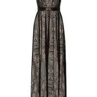 Alice + Olivia - Sybil leather-trimmed lace gown