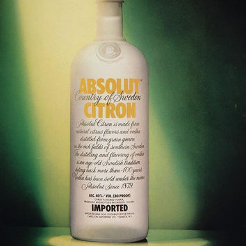 1989 Ad Absolut Citron Vodka Bottle Limelight Spotlight - ORIGINAL ABS2