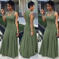Green Sleeveless Ruffled Maxi Dress